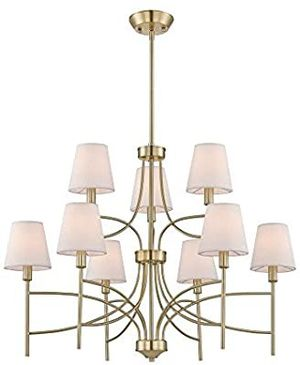 World Imports Millau Collection 9-Light Satin Gold Chandelier with Fabric Shade for Sale in Houston, TX