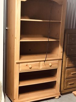 Real wood ,Heavy duty book shelf or Etc.. with lighting fixture. for Sale in Denver,  CO