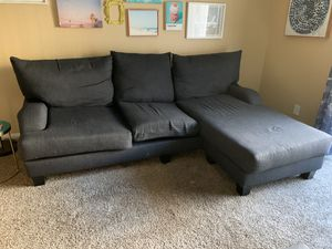 Living Spaces Dark Blue Sofa with Chaise Extension for Sale in Los Angeles, CA