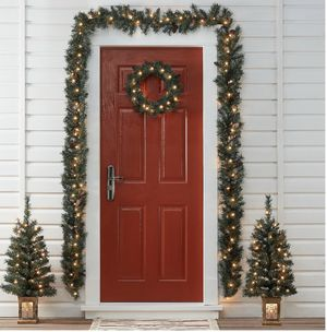 2 Christmas Trees NEW wreath and door decoration with lights living dining room fireplace bedroom for Sale in Las Vegas, NV