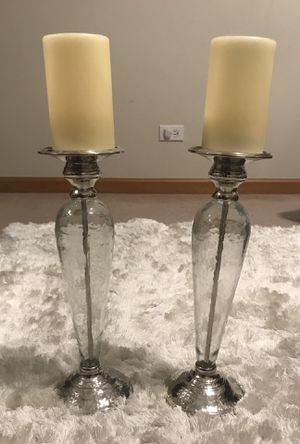 Pier One Silver and Glass Pillar Candle Holders for Sale in Batavia, IL