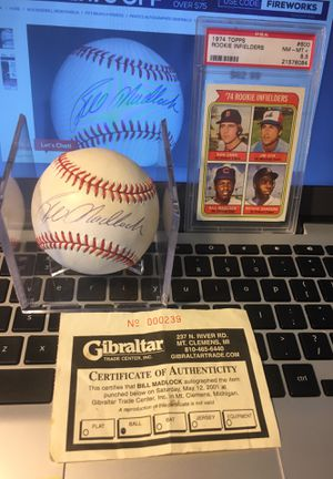 Bill Madlock autographed Rawlings official American League baseball with 1974 Topps psa8.5 madlock RC coa for Sale in Sterling Heights, MI