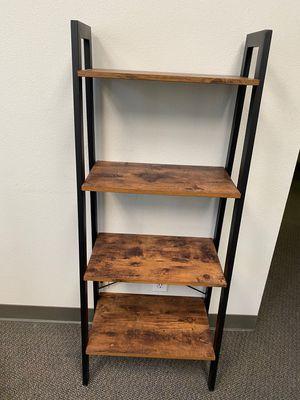 Industrial Ladder Shelf, 4-Tier Bookshelf, Storage Rack Shelves, Bathroom, Living Room, Wood Look Accent Furniture, Metal Frame, Rustic Brown for Sale in Corona, CA