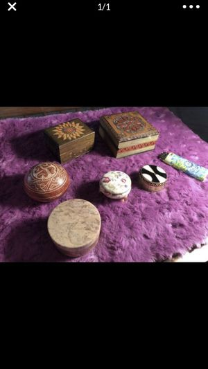 6 piece lot Lidded vintage boxes wood , stone, China & brass for Sale in Portland, OR