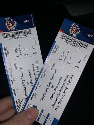 Have a pair of thunder tickets for Sale in Oklahoma City, OK