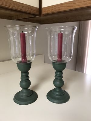 Two wood and glass candle holders for Sale in Elk Grove Village, IL