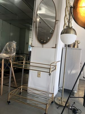 Acrylic bar cart and acrylic and gold mirror for Sale in Rockville, MD