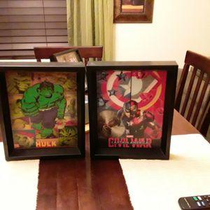 Holographic MARVEL pictures in frames for Sale in El Mirage, AZ