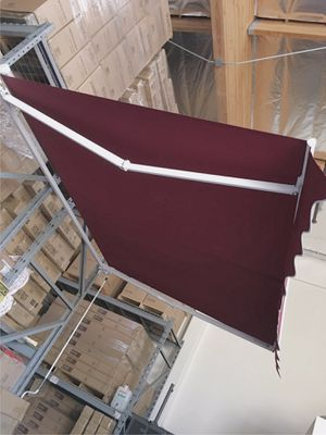 New in box Manual Patio 10 feet wide × 8' Retractable Sunshade Awning deck cover sun block canopy shade burgundy red toldo for Sale in Covina, CA