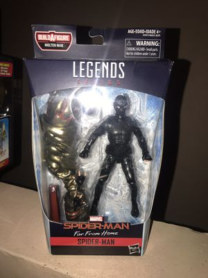 Marvel legends far from home spiderman stealth suit figure with molten man baf arm new sealed for Sale in Los Angeles, CA