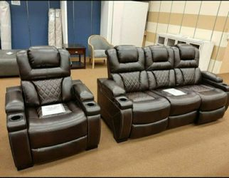 Warnerton Chocolate Power Reclining Living Room Set 🔆 Sofa and Loveseat ♥️ Couch for Sale in Round Rock,  TX