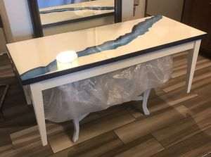 Upcycled Coffee Table - Inlay River for Sale in Brookline, MA