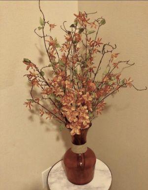 Elegant orange flower arrangement with vase for Sale in Sugar Land, TX