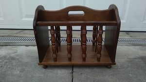 SOLID OAK MAGAZINE FLOOR RACK for Sale in Ontario, CA