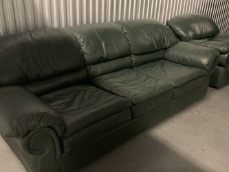 $125 For Leather 2 Piece Sofa Bed And Chair Set - Green for Sale in Orlando,  FL