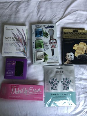 Beauty and makeup items, makeup eraser, brush cleaner, face and eye mask set, face mask for Sale in Los Angeles, CA