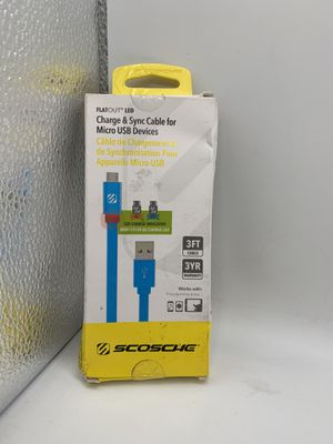 Scosche Flat out LED charge&Sync 3ft blue for Sale in Los Angeles, CA