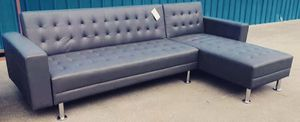 (BRAND NEW) Grey Leather Adjustable Sofa/ Chaise Futon for Sale in Houston, TX