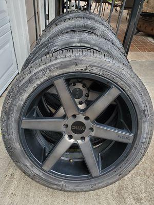 "22"" KMC Wheels Pirelli Tires 6 Lug Chevy Rims 20 for Sale in Humble, TX"