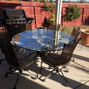 Glass & Wrought Iron Patio Furniture With 6 Chairs for Sale in Olivehurst, CA