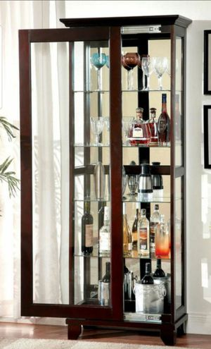 5-Shelf Glass Door Curio Cabinet in Dark Walnut Finish for Sale in Chino, CA