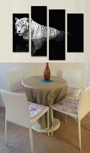 Kitchen, dining round white table with 4 chairs and the paint. for Sale in Las Vegas, NV