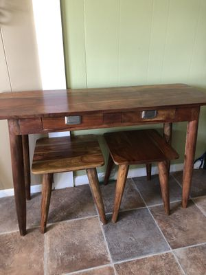 Table/ 2 stools ( solid wood) for Sale in San Angelo, TX