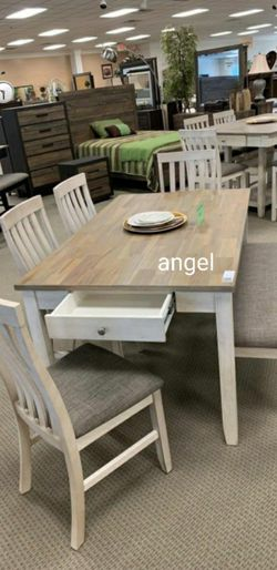 Nina White Dining Set Piece (Table+4 Chairs+Bench) for Sale in Laurel,  MD