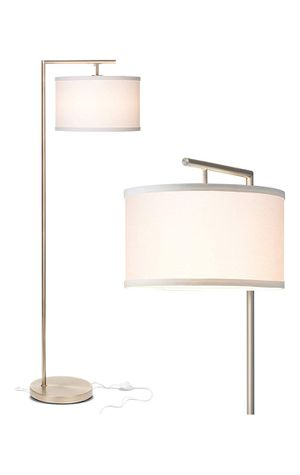BRIGHTECH Montage Modern LED Floor Lamp for Living Room Standing Accent Light Tall Pole Lamp with Hanging Drum Shade (Satin Nickel) for Sale in San Bernardino, CA