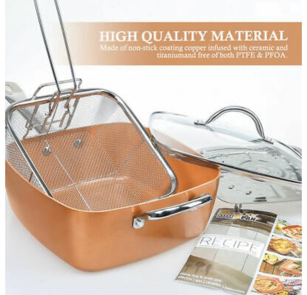 Copper Square Pan Induction for Chef w/Glass Lid, Steam Rack, Fry Basket 4PC Set