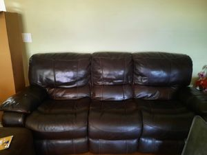 Free dark leather couch and recliner set for Sale in Beaverton, OR