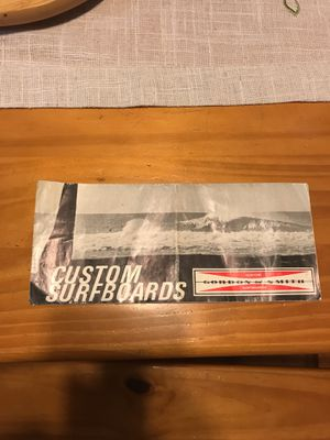 Gordon & Smith custom surfboard order info pamphlet from 1964. for Sale in San Jacinto, CA