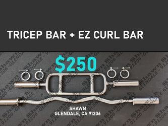 OLYMPIC EZ CURL BAR - & - OLYMPIC TRICEPS BAR for Sale in Glendale,  CA