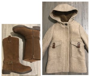 Toddler Girl Zara Coat and New Zara Leather Boots for Sale in Everett, WA