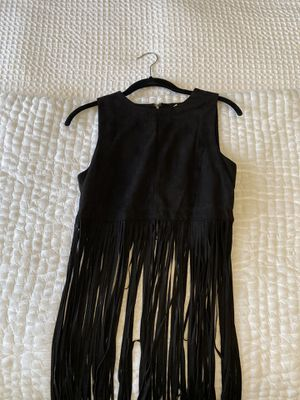 Black suede top with fringe size M for Sale in Chula Vista, CA