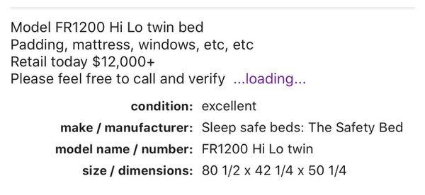 Sleep Safe: The Safety Bed, Model FR 1200 Hi Lo Twin