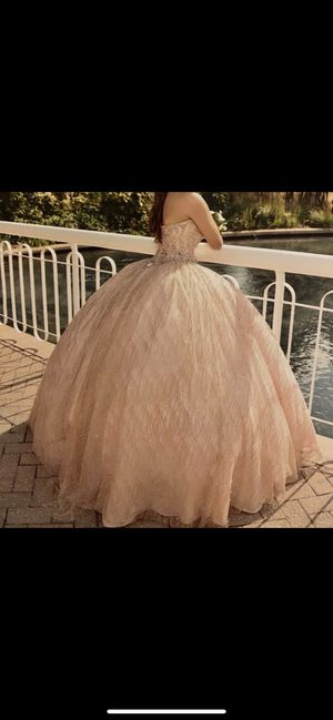 Quinceañera rose gold strapless dress for Sale in Fairfax, VA