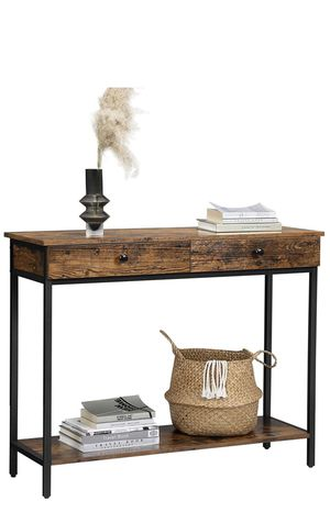 Console Table, Hallway Table with 2 Drawers, Sofa Table, Steel Frame, Stable, for Entrance and Living Room, Industrial Style, Rustic Brown and Black for Sale in Chino, CA