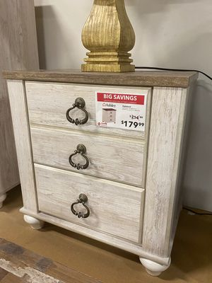 Whitewash Nightstand with 2 slim USB Ports for Sale in Downey, CA
