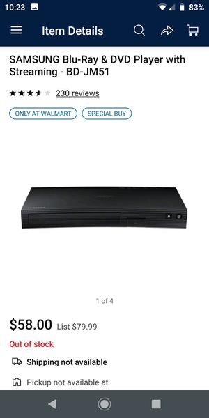 SAMSUNG Blu-Ray & DVD Player with Streaming - BD-JM51 for Sale in Houston, TX