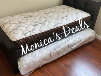 Twin Solid Wood Bed & Twin Roll Out Mattress $340 for Sale in Commerce,  CA