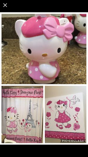 Hello kitty shower curtain, matching picture and soap dispenser for Sale in Hollywood, FL