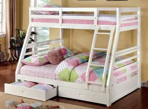 """Bunk bed elegance full/twin with drawers """" mattress separate for Sale in Norcross, GA"""