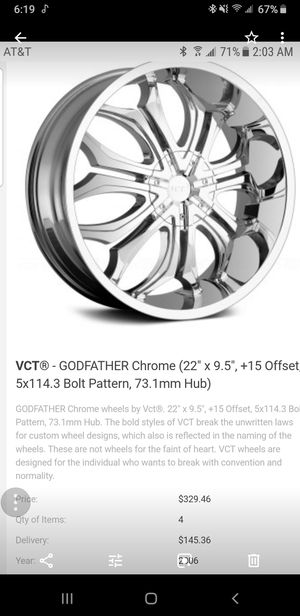 VCT Godfather Chrome Rims For Sale for Sale in Boston, MA