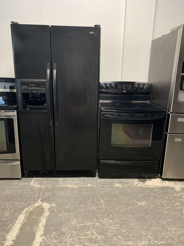 Black side by side refrigerators