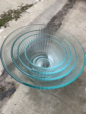 4 Vintage Pyrex Teal Clear Ribbed Mixing Bowl Set for Sale in Los Angeles, CA