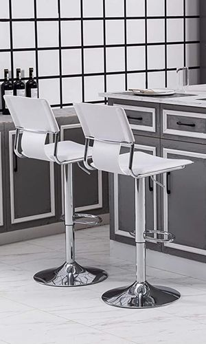 White Adjustable Swivel Counter Height Bar Stool Chairs with Back (Set of 2) for Sale in Scottsdale, AZ