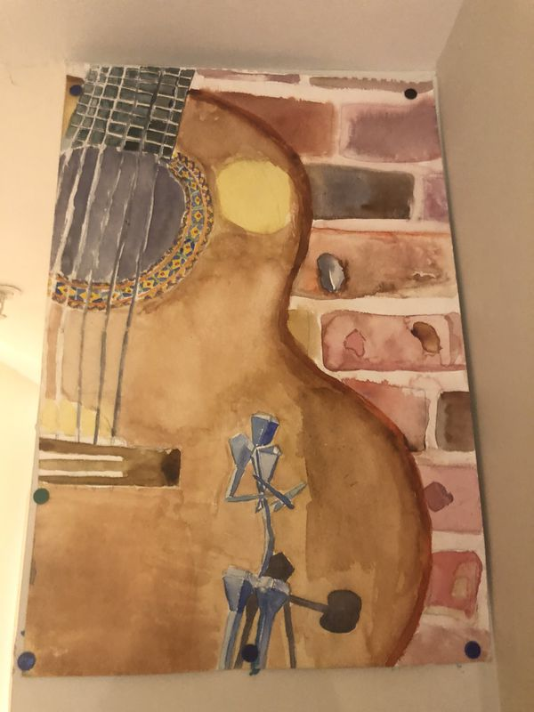 Water color painting of guitar