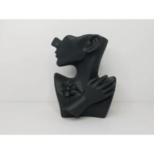 Black 10 inch Ceramic Half Round Face With Hand & Flower Pin Vase & Earring Hole for Sale in Los Angeles, CA