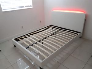 New Queen bed frame with led light mattress is not included for Sale in Lake Worth, FL